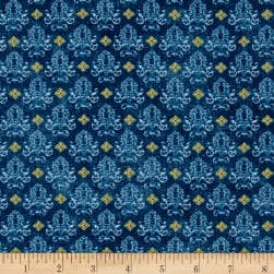 Birds of a Feather Dream Damask Blue