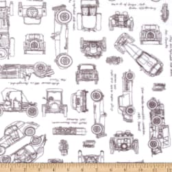 Shannon Kaufman Minky Cuddle Automobiles Graphite Fabric