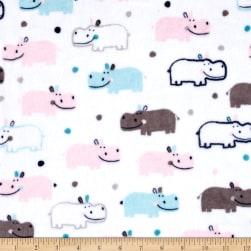 Shannon Kaufman Minky Cuddle Happy Hippo Blush/Saltwater Fabric