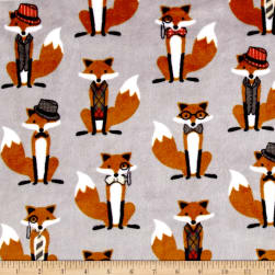 Shannon Kaufman Minky Cuddle Nifty Fox Steel Fabric