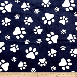 Shannon Minky Cuddle Paws Navy/Snow Fabric