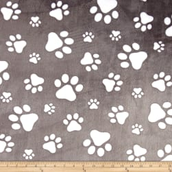Shannon Minky Cuddle Paws Graphite/Snow Fabric