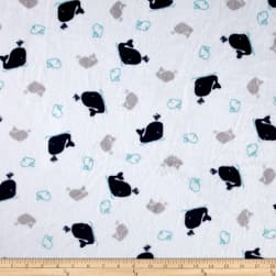 Shannon Minky Cuddle Whales Navy Fabric
