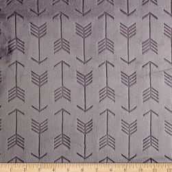 Shannon Minky Cuddle Embossed Arrow Graphite Fabric