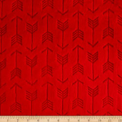 Shannon Minky Embossed Arrow Cuddle Scarlet