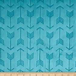 Shannon Minky Cuddle Embossed Arrow Teal Fabric