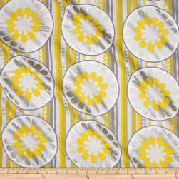 Kanvas Zest Lemon Burst Yellow Metallic Fabric