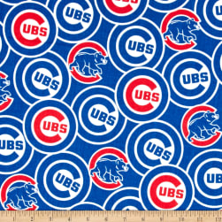 Chicago Cubs Cotton Broadcloth Blue Fabric