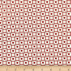 Aunt Grace Check Flower Red Fabric