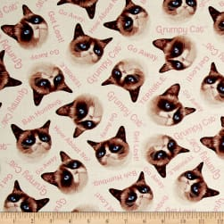 Marcus Grumpy Cat Tossed White Fabric