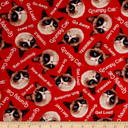Marcus Grumpy Cat Tossed Red Fabric