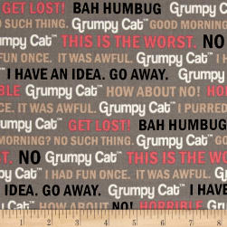 Marcus Grumpy Cat Words Gray Fabric