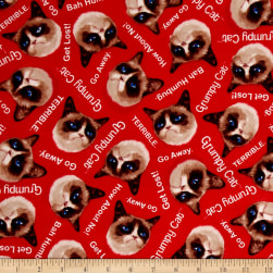 Marcus Grumpy Cat Flannel Word Toss Red Fabric