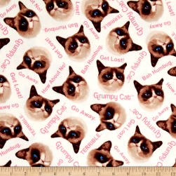 Marcus Grumpy Cat Flannel Word Toss White Fabric