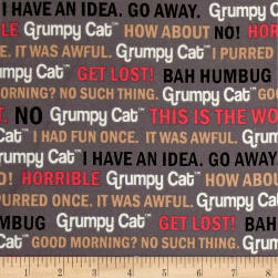 Marcus Grumpy Cat Flannel Words Gray Fabric