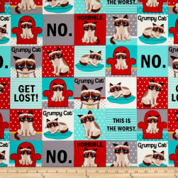 Marcus Grumpy Cat Flannel Squares Red/Aqua Fabric