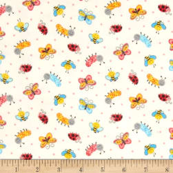 Tossed Bugs Flannel White Fabric