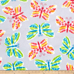 Fleece Tossed Butterflies Gray Fabric