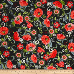 Enchanted Grove Big Poppies Black Fabric