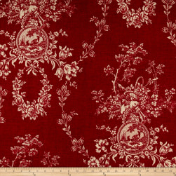 Waverly Country House Toile Red Linen Fabric