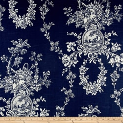 Waverly Country House Toile Indigo Blue Linen Fabric