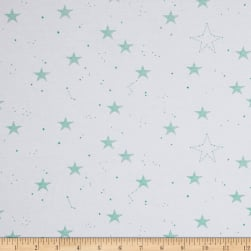 Michael Miller Magic Jersey Knit Lucky Stars Turquoise Fabric
