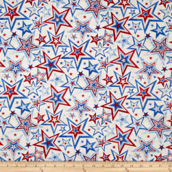 Marblehead Valor Multi Star White Fabric