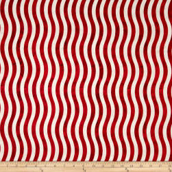 Marblehead Valor Wavy Stripe Red/White Fabric