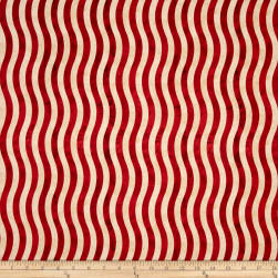 Marblehead Valor Wavy Stripe Red/Beige Fabric