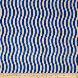 Marblehead Valor Wavy Stripe Blue/Beige Fabric