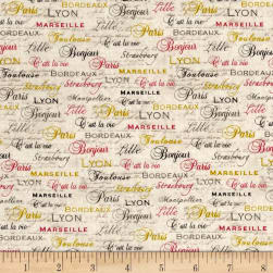 C'Est La Vie Words Ecru Fabric