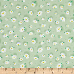 Doo Dads Daisies Green Fabric