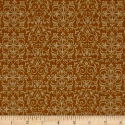 Rooster Inn Scrolls Gold Fabric