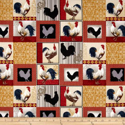 Rooster Inn Patchwork Multi Fabric