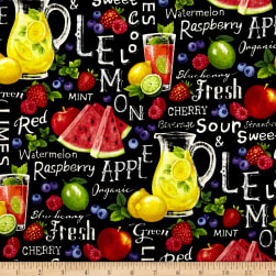 Farmer John Garden Assorted Fruits On Black Fabric