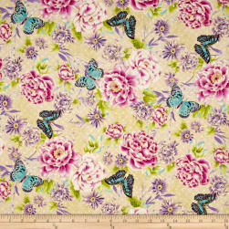 Flights Of Fancy Oriental Flower Ecru Metallic Fabric