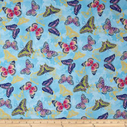 Flights Of Fancy Butterfly Blue Metallic Fabric