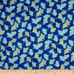 Flights Of Fancy Ginko Blue Metallic Fabric