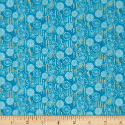 Flights Of Fancy Floral Blue Metallic Fabric