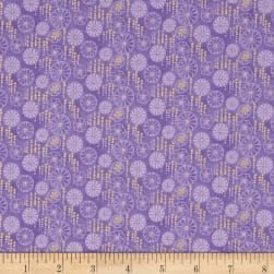 Flights Of Fancy Floral Plum Metallic Fabric