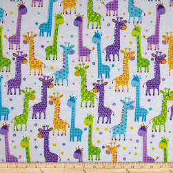 Flannel Giraffe Necks White Fabric