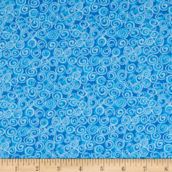 Flannel Swirls Blue Fabric