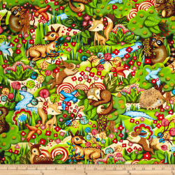 Woodland Friends Forest Creatures Multi Fabric