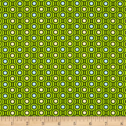 Woodland Friends Circles Green Fabric