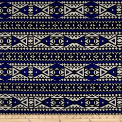 Rayon Jersey Knit Diamond Tribe - Blue/White Fabric