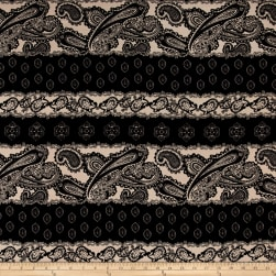 Poly Challis Paisley Black/Beige Fabric