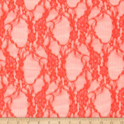 Stretch Summer Floral Lace Neon Orange