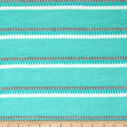 Lightweight Sweater Knit Pointelle Stripe Mint Fabric