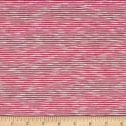 Jersey Knit Magenta Vertical Mini Stripes on Ivory