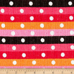 Sweater Knit Horizontal Stripped Dots Pink/Orange/Red